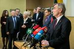 Nuotrauka. Seimo Pirmininko Viktoro Pranckiečio susitikimas su Seimo frakcijų seniūnais. Seimo kanceliarijos (aut. O. Posaškova) nuotr.