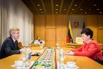 Nuotrauka. Seimo Pirmininko Viktoro Pranckiečio susitikimas su Kultūros paveldo departamento prie Kultūros ministerijos direktore Diana Varnaite. Seimo kanceliarijos (aut. O. Posaškova) nuotr.