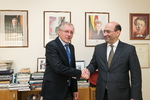 Nuotrauka. Seimo Pirmininko pavaduotojo, Europos reikalų komiteto pirmininko Gedimino Kirkilo susitikimas su Armėnijos ambasadoriumi Tigranu Mkrtčianu. Seimo kanceliarijos (aut. Dž. G. Barysaitė) nuotr.