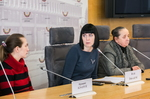 """Nuotrauka. Seimo narės Dovilės Šakalienės spaudos konferencija """"Ką patiria keturių vaikų mama be dokumentų Lietuvoje?"""". Seimo kanceliarijos (aut. O. Posaškova) nuotr."""