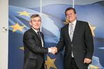 Nuotrauka. Seimo Pirmininkas Viktoras Pranckietis susitiko su Europos Komisijos Pirmininko pavaduotoju, atsakingu už energetikos sąjungą, Marošu Šefčovičiumi. Seimo kanceliarijos (aut. Dž.G.Barysaitė) nuotr.