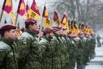 Nuotrauka. Iškilminga vėliavų rikiuotė